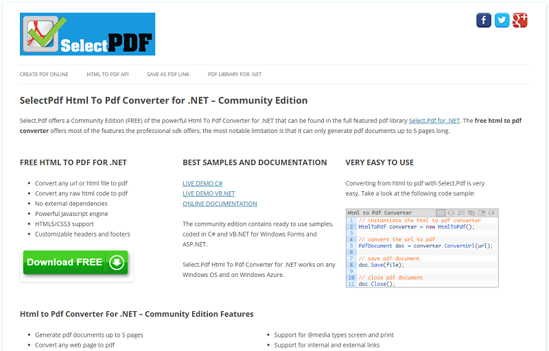 SelectPdf Html To Pdf Converter for .NET Screen shot